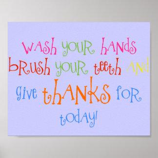 Lávese las manos dan la decoración del cuarto de b póster