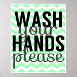 Lávese las manos satisfacen - Chevron - la menta y Posters