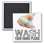 Lávese las manos satisfacen imán cuadrado