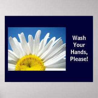 ¡Lávese las manos satisfacen! Poster de la escuela