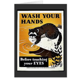 Lávese las manos tarjeta de felicitación