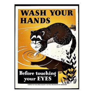 Lávese las manos tarjetas postales