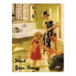 Lávese las manos tarjeta postal