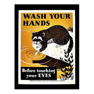 Lávese las manos postal