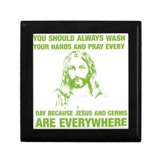 Lávese las manos y ruegue - Jesús y los gérmenes… Joyero Cuadrado Pequeño