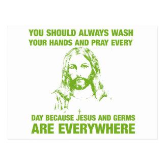 Lávese las manos y ruegue - Jesús y los gérmenes… Postal