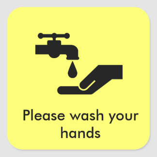 Lávese por favor las manos pegatina cuadrada