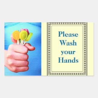 Lávese por favor las manos pegatina rectangular