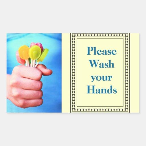 Lávese por favor las manos pegatinas