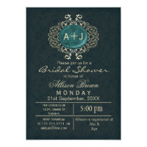 Lavish Aqua Gold Elegant bridal shower Invites