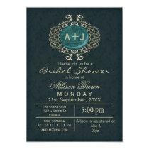 Lavish Aqua Gold Elegant bridal shower Invites