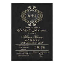 Lavish Black Gold Elegant bridal shower Invite