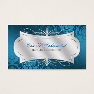 Lavish Blue Diamond Damask Swirl Business Card