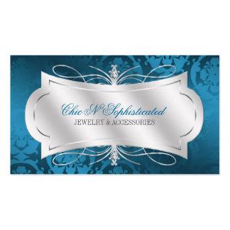 Lavish Blue Diamond Damask Swirl Business Cards