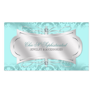 Lavish Blue Ice Diamond Damask Swirl Double-Sided Standard Business Cards (Pack Of 100)