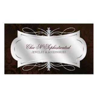 Lavish Dark Chocolate Diamond Damask Swirl Double-Sided Standard Business Cards (Pack Of 100)