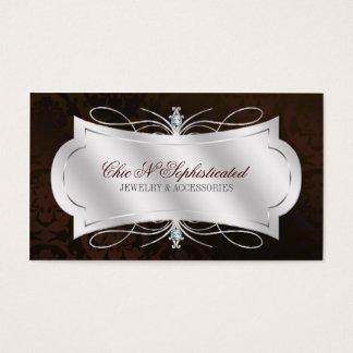 Lavish Dark Chocolate Diamond Damask Swirl Business Card