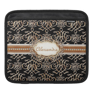 Lavish Elegant Gold Look Calligraphic Swirl Jewels Sleeve For iPads
