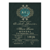 Lavish emerald Gold Elegant bridal shower Invites