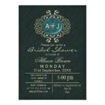 Lavish emerald Gold Elegant bridal shower Invites