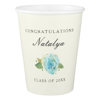 Lavish Florals Personalized Graduation Paper Cup