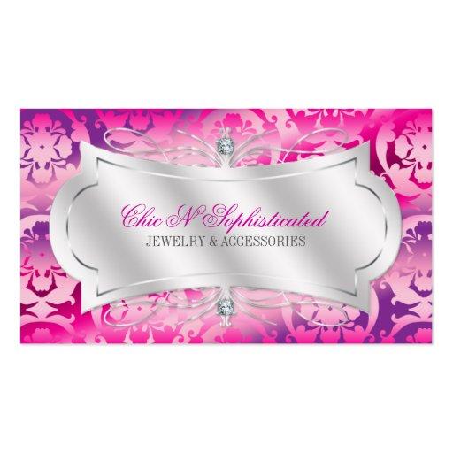 Lavish Fuchsia Lavender Diamond Damask Swirl Double-Sided Standard Business Cards (Pack Of 100)