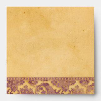 Lavish Lilac Grunge Damask Lace Square Envelopes
