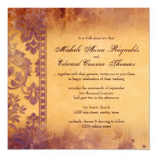 Lavish Lilac Grunge Damask Lace Wedding Invitation