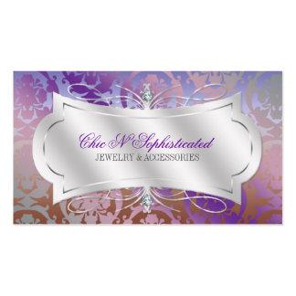 Lavish Mocha Lavender Diamond Damask Swirl Business Card Templates