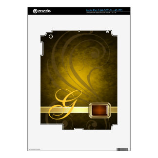 Lavish Monogram Gold Scroll Faux Jewel Ipad Skin