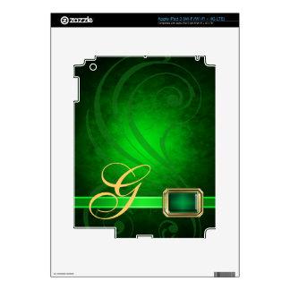 Lavish Monogram Green Scroll Faux Jewel Ipad Skin