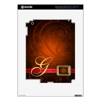 Lavish Monogram Orange Scroll Faux Jewel Ipad Skin