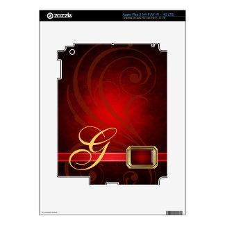 Lavish Monogram Red Scroll Faux Jewel Ipad Skin
