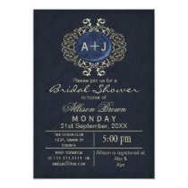 Lavish Navy Blue Gold Elegant bridal shower Invite