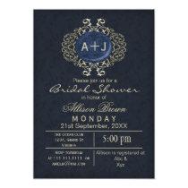 Lavish Navy Blue Gold Elegant bridal shower Invite