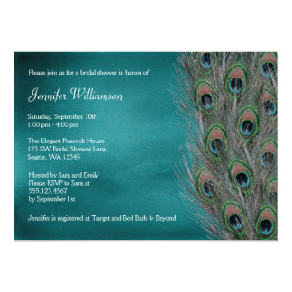 Lavish Peacock Feather Bridal Shower Invitations