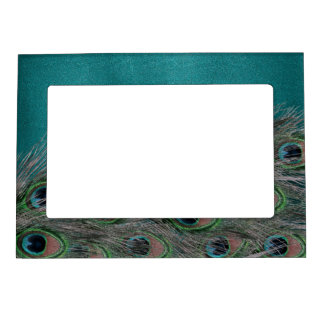 Lavish Peacock Feathers Magnetic Picture Frame