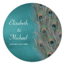 Lavish Peacock Feathers Round Wedding Favor Label