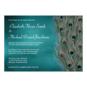 Lavish Peacock Feathers Wedding Invitation 5