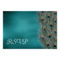 Lavish Peacock Feathers Wedding RSVP Response Card