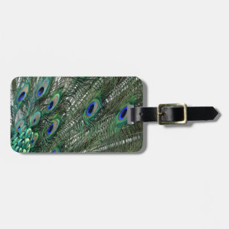 Lavish Peacock Flumes in Green Luggage Tag