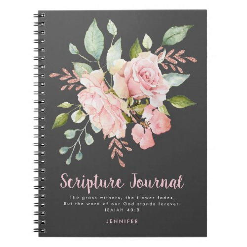 Lavish Pink Roses Personalized Scripture Journal