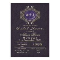 Lavish Purple Gold Elegant bridal shower Invites