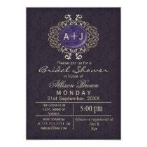 Lavish Purple Gold Elegant bridal shower Invites