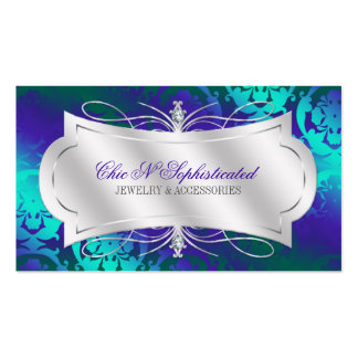 Lavish Purple Turquoise Diamond Damask Swirl Double-Sided Standard Business Cards (Pack Of 100)