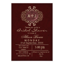 Lavish Red Gold Elegant bridal shower Invites