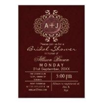 Lavish Red Gold Elegant bridal shower Invites