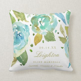 Lavish Watercolor Florals Birth Information Pillow