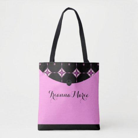LavishlyOn Bubble Gum Pink Diamond Trim Monogram Tote Bag