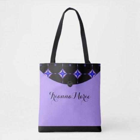 LavishlyOn Lavender Purple Diamond Trim Monogram Tote Bag